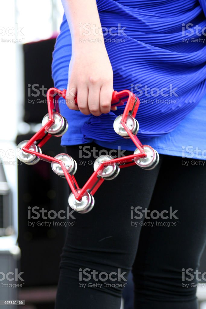 Tambourine in a live concert stock photo