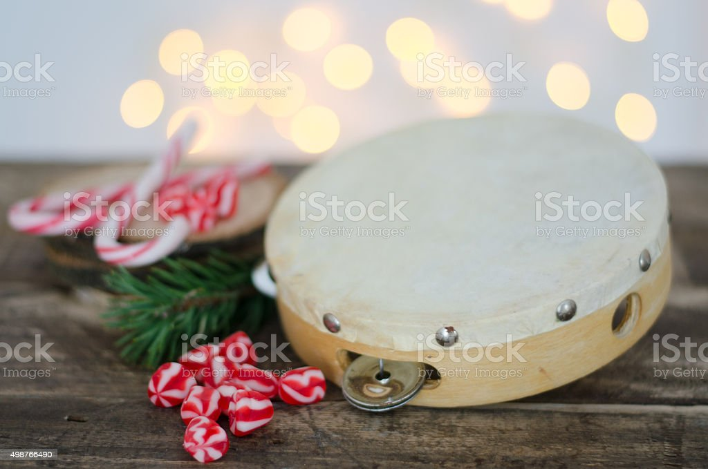 tambourine with candy stock photo