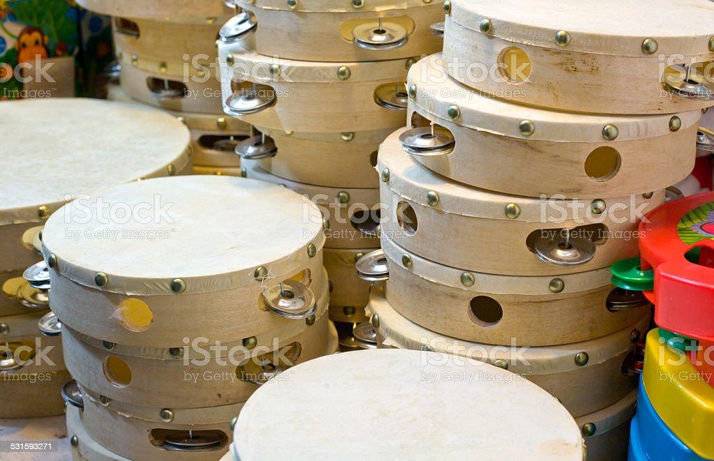Tambourines stall stock photo