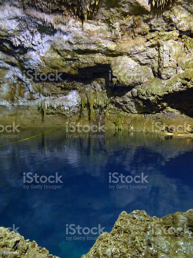 Tamchach-Ha Underground Cenote in Mexico stock photo