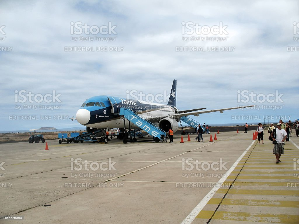 Tame jet  landed at Baltra on the Galapagos Islands stock photo