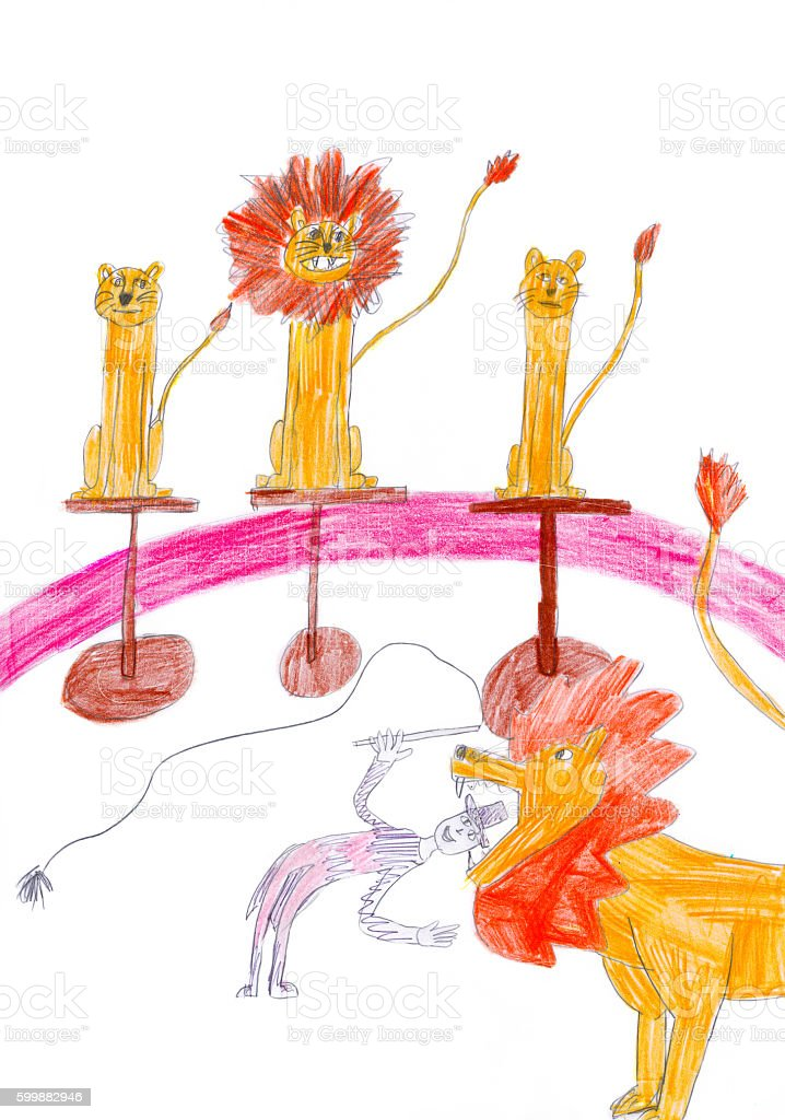 Tamer putting head in trained lions chap in circus. Kid's drawing. stock photo