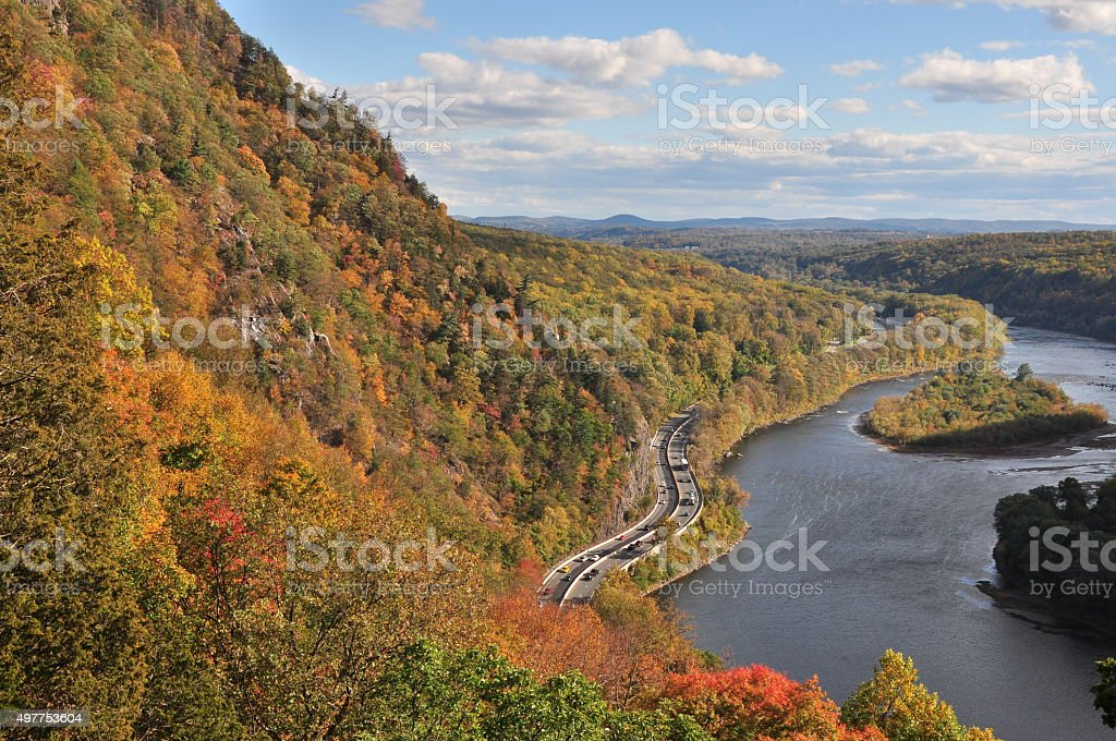 Tammany mountain at Delaware Water gap in autumn stock photo