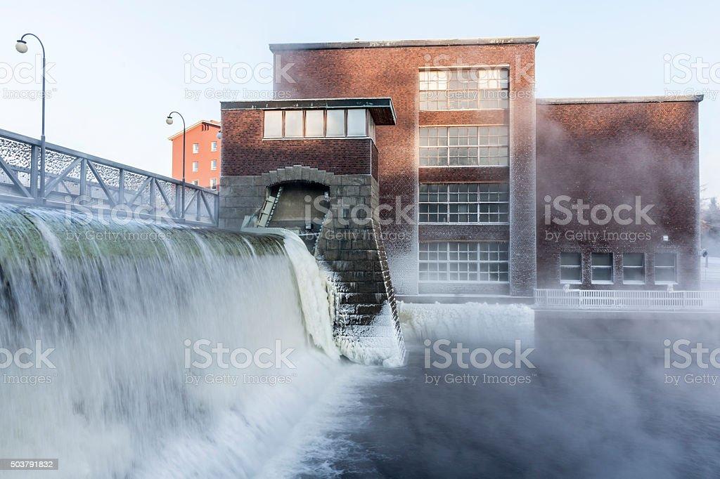 Tammerkoski dam in the winter stock photo