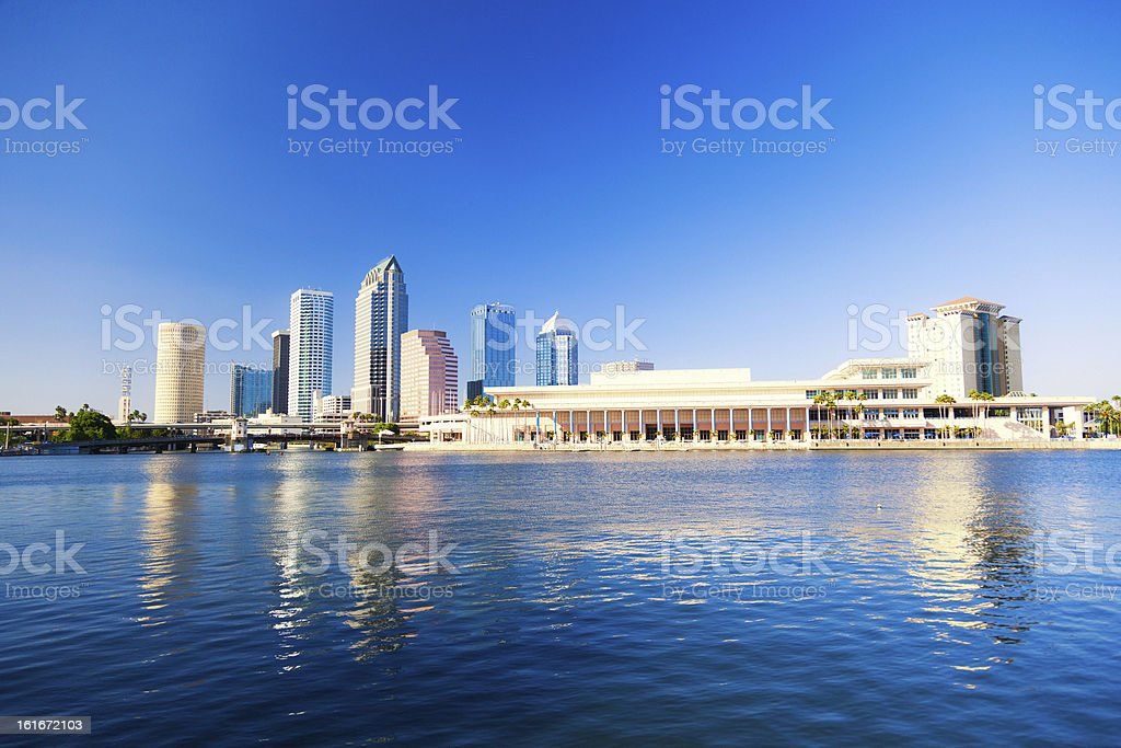 Tampa Downtown Skyline with Skyscraper Reflection royalty-free stock photo