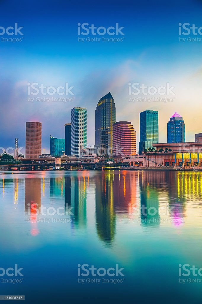 Tampa Downtown Skyline with Skyscraper Reflection stock photo