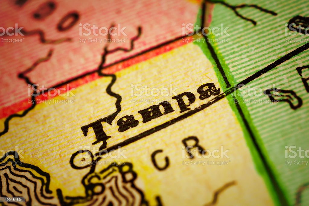 Tampa, Florida on an Antique map stock photo