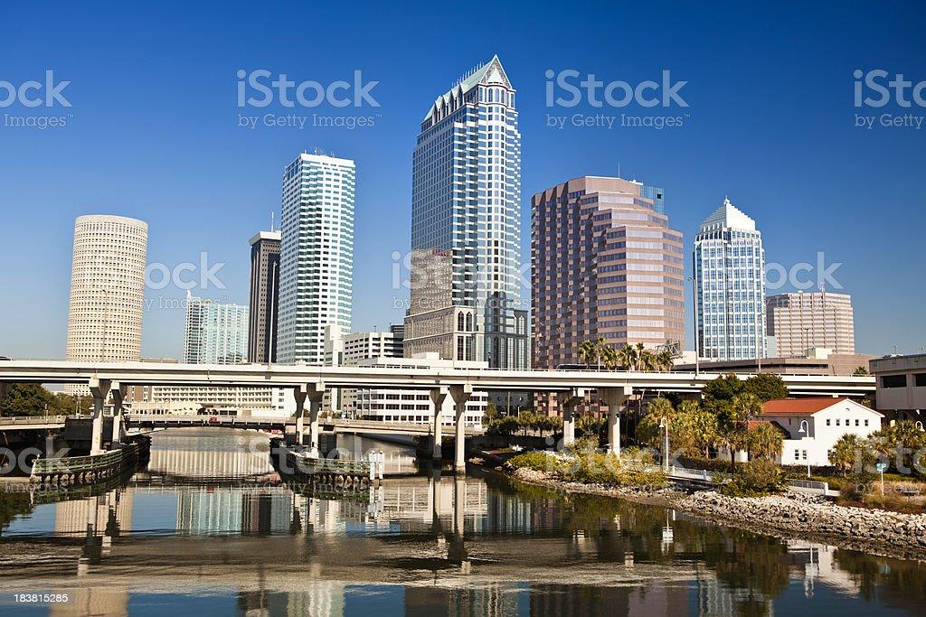 Tampa Florida skyline morning USA stock photo