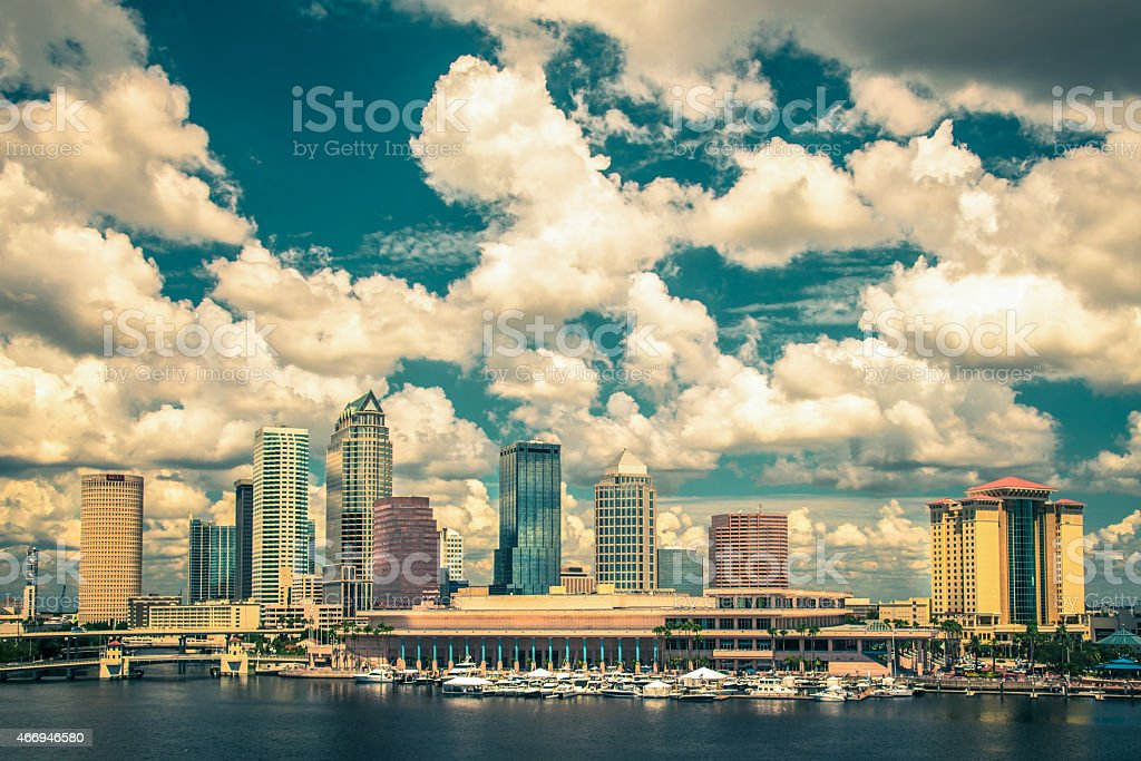 Tampa Florida viewed from offshore on a sunny day stock photo