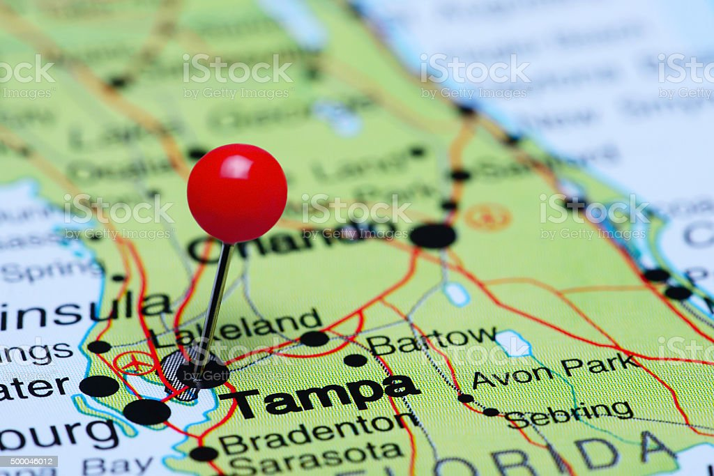 Tampa pinned on a map of USA stock photo