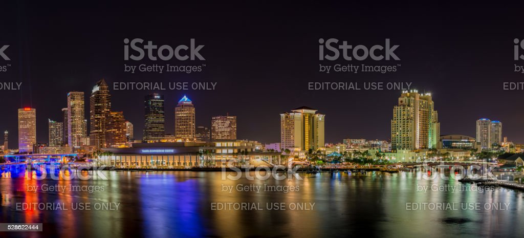 Tampa Riverfront at Night stock photo