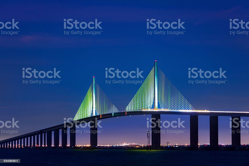 Tampa Saint Petersburg Skyway Bridge stock photo