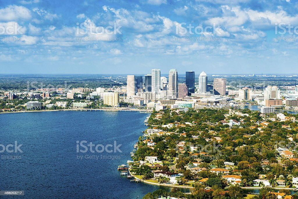 Tampa Skyline Aerial View stock photo