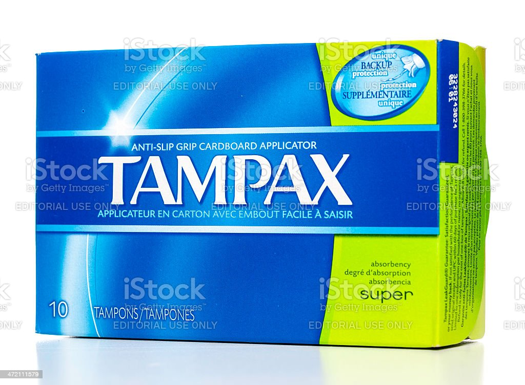 Tampax tampons with anti-slip grip cardboard applicator box stock photo