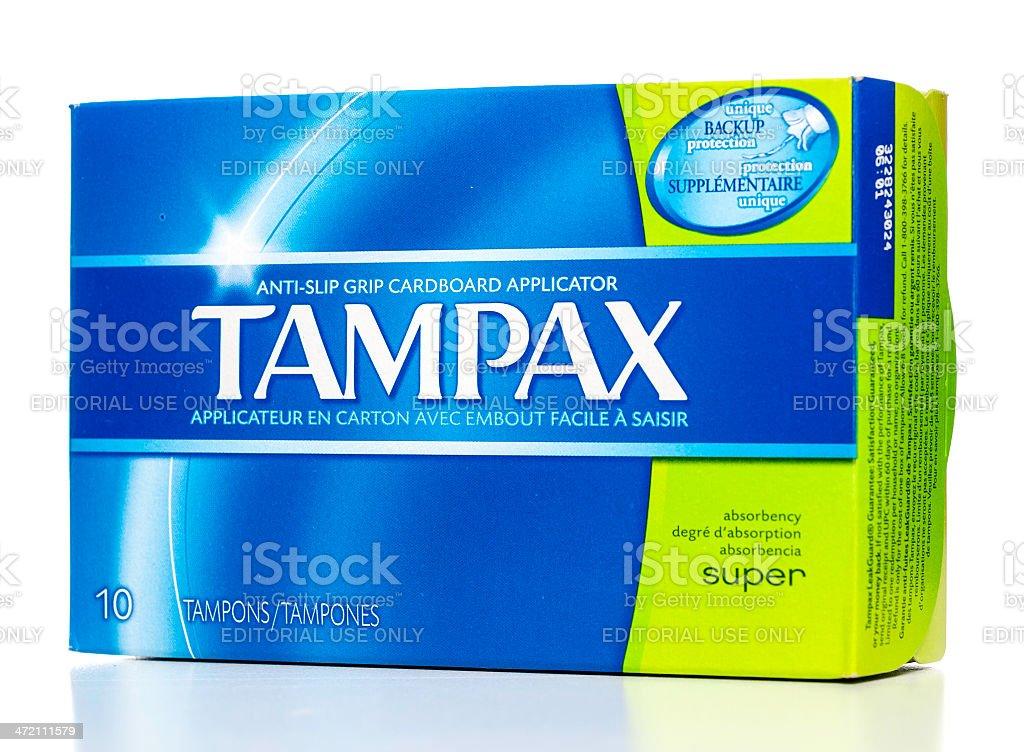Tampax tampons with anti-slip grip cardboard applicator box stock photo