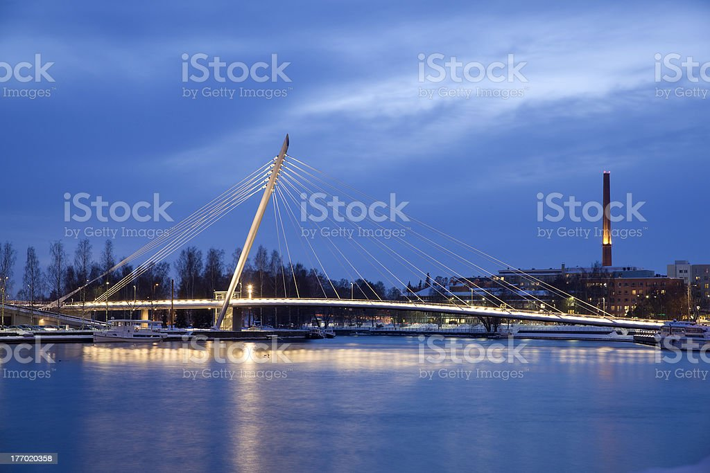 Tampere city at night stock photo