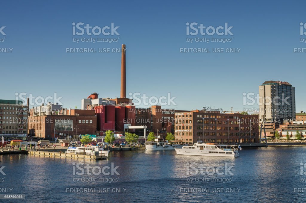 Tampere factories and ships at harbor, Finland. stock photo