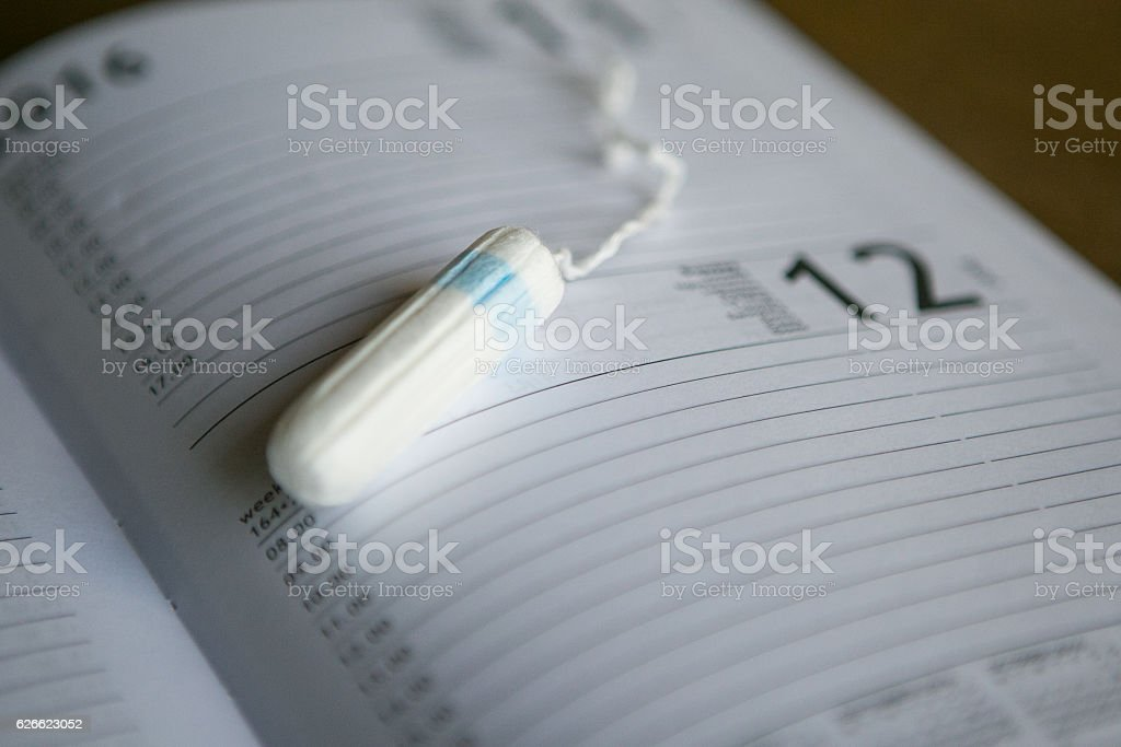 Tampon on a diary - monthly reminder stock photo