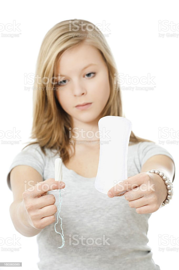Tampon or sanitary napkin stock photo