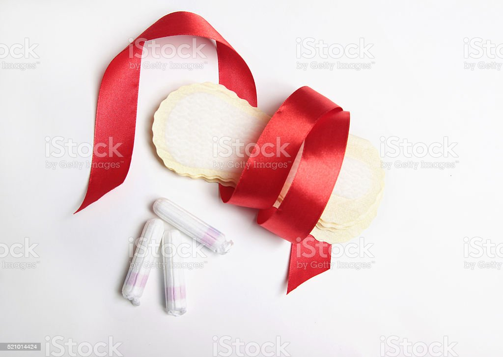 tampons with pads with red tape stock photo