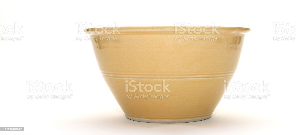 Tan ceramic bowl isolated on white background stock photo