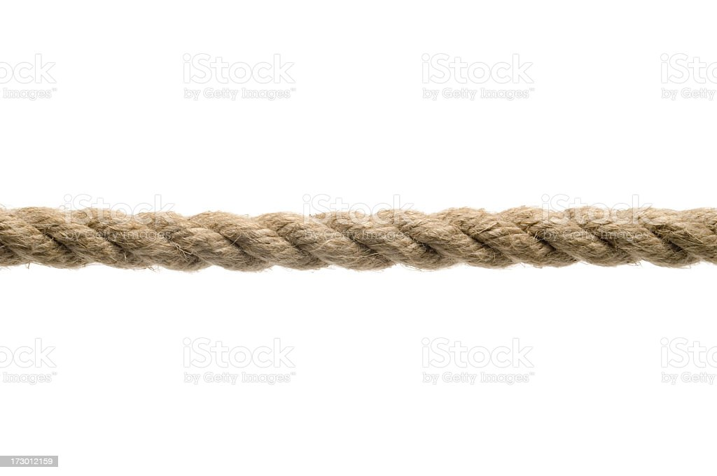 Tan rope against a white background stock photo