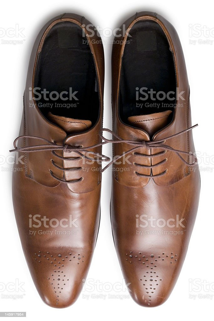 Tan shoes from above stock photo