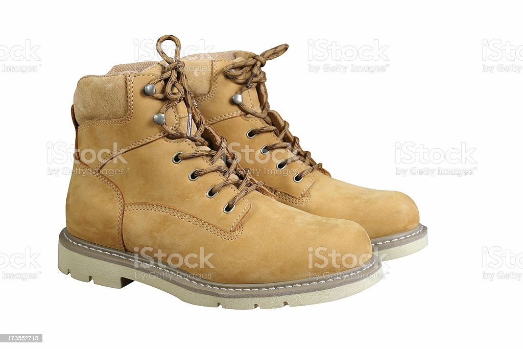 Tan Work Boots stock photo