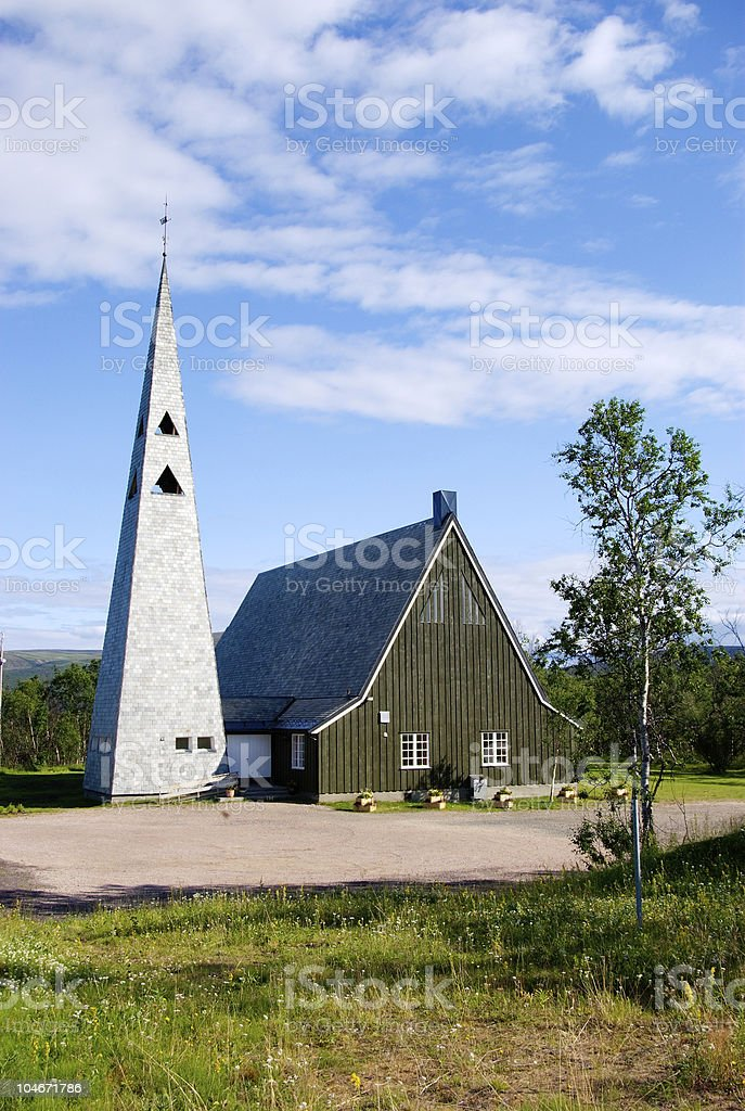 Tana kirke at Rustefjelbma - Church in northern Norway royalty-free stock photo