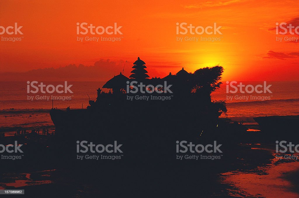 Tanah Lot temple at sunset in Bali in Indonesia stock photo