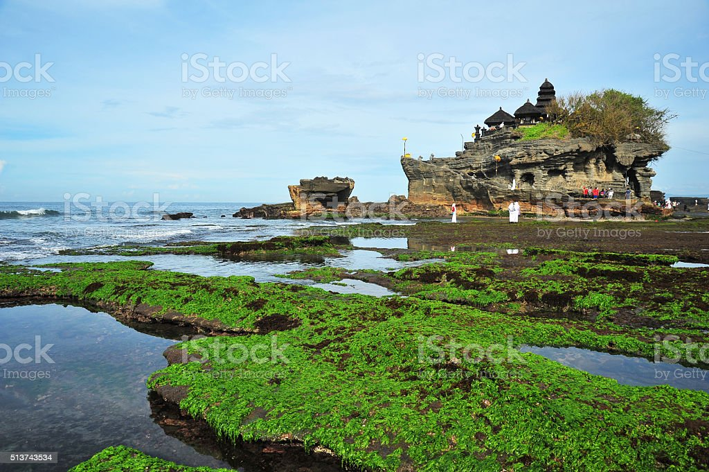 Tanah Lot Temple at the Sea in Bali, Indonesia stock photo