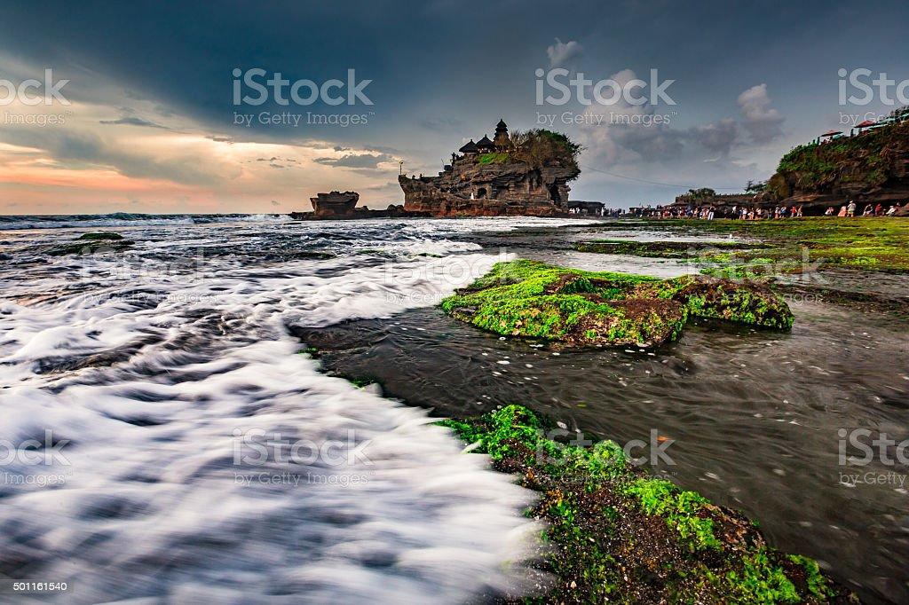 Tanah Lot temple on Island of Bali, Indonesia -stock image stock photo