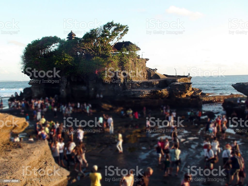 Tanah Lot Temple With So Many People In Bali.Indonesia.Southeast Asia stock photo