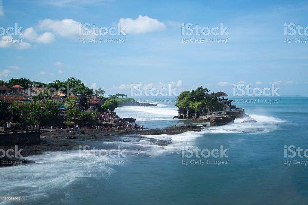Tanah Lot water temple in Bali island, Indonesia. stock photo