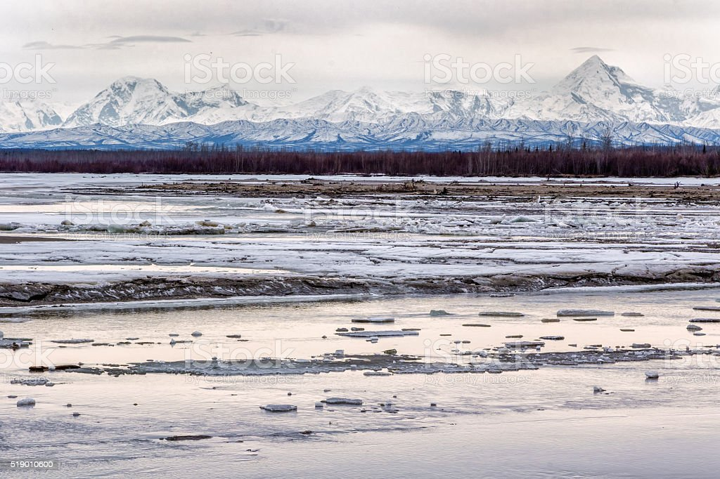 Tanana River breakup and the mountains stock photo