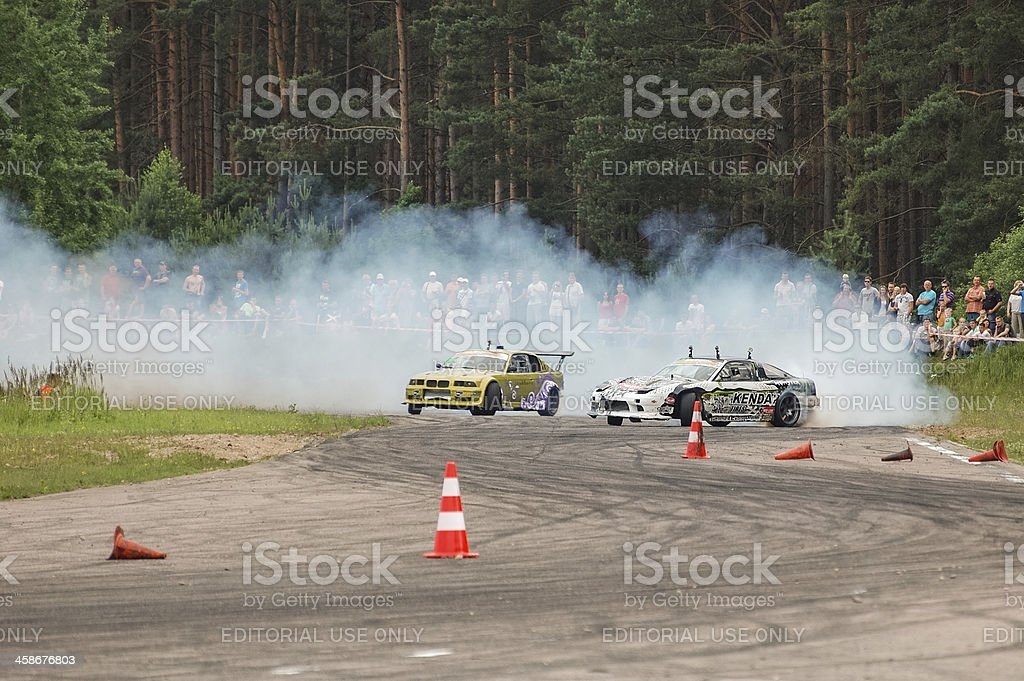 Tandem drifting stock photo