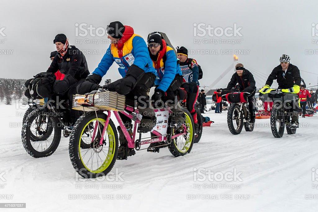 Tandem fatbike in Rovaniemi 150 advernture race, Finland. stock photo