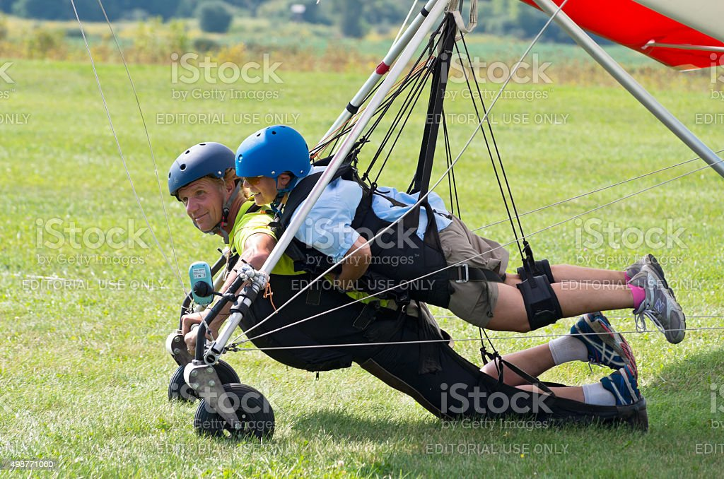 Tandem Hang Gliders Landed stock photo