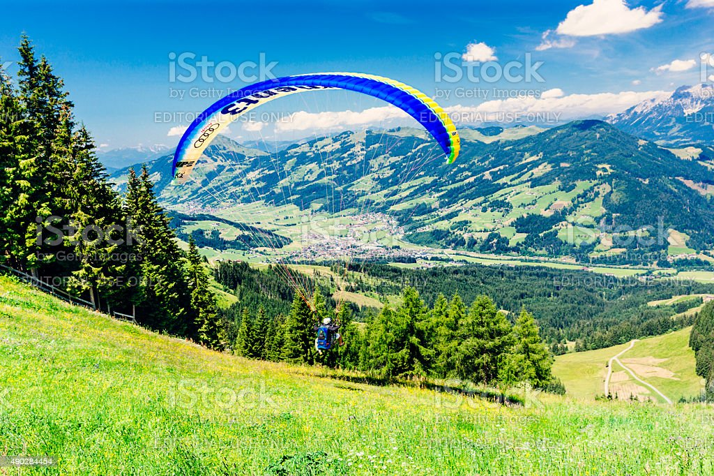 Tandem paraglider in Switzerland stock photo