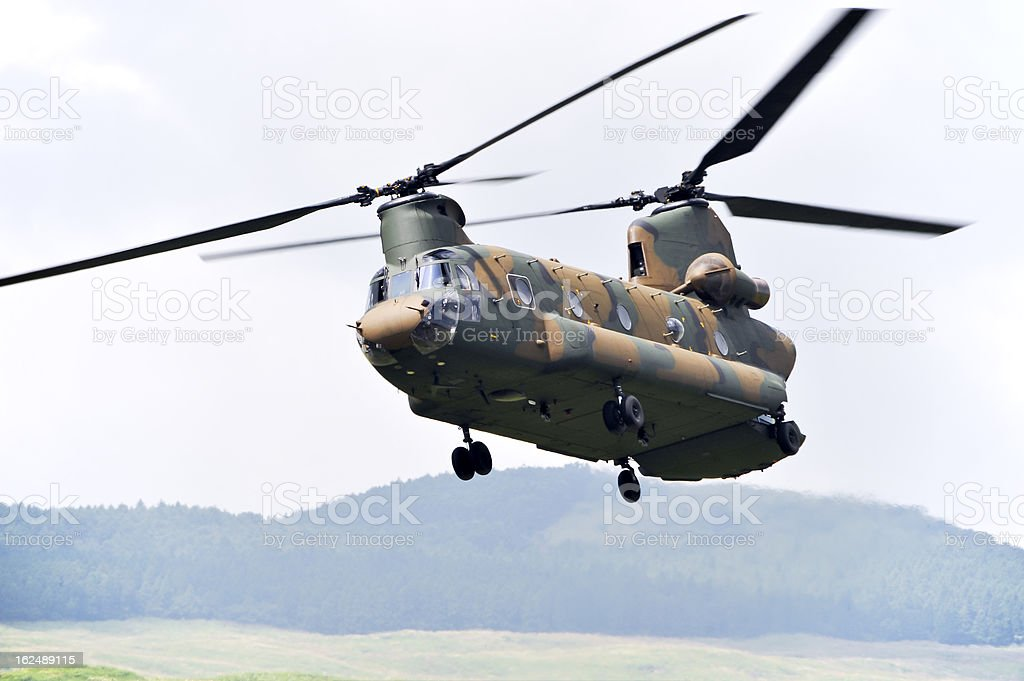 Tandem Rotor Helicopter stock photo