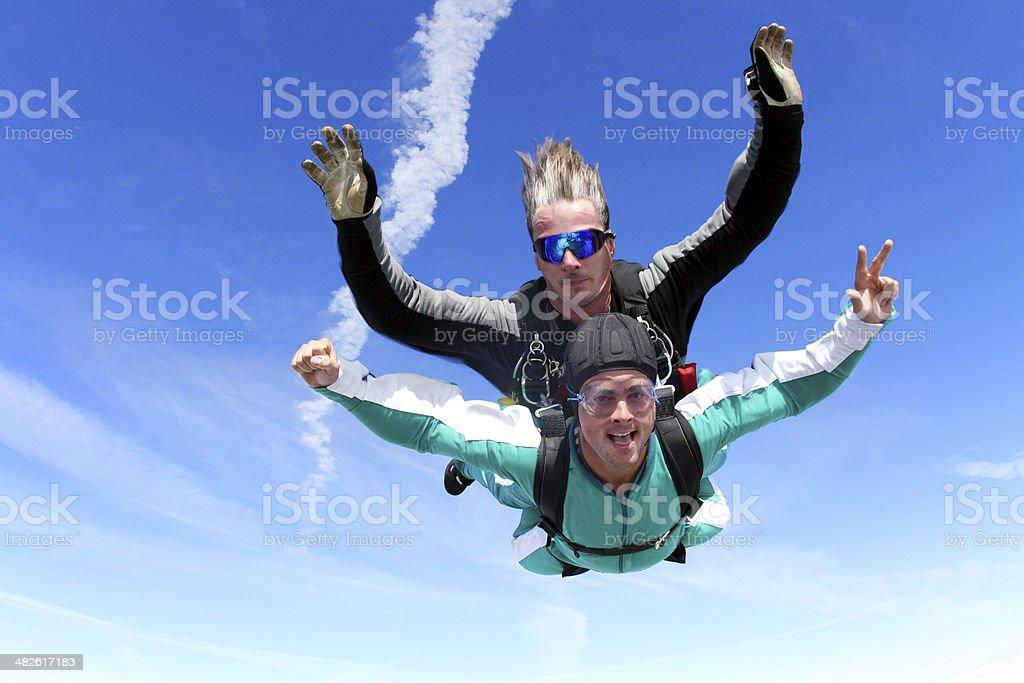 Tandem skydiving royalty-free stock photo