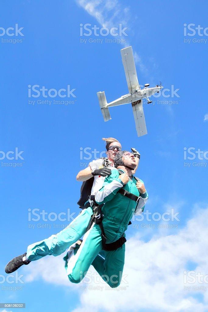 Tandem skydiving stock photo