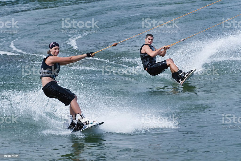 Tandem wakeboarding stock photo