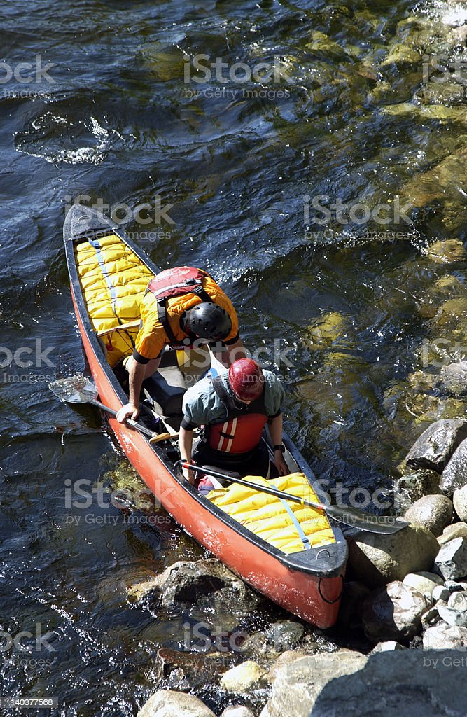 tandem whitewater canoe royalty-free stock photo