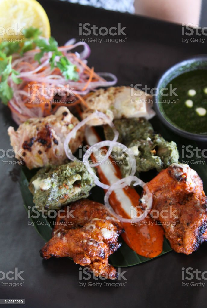 Tandoor Griled Meat on Plate stock photo