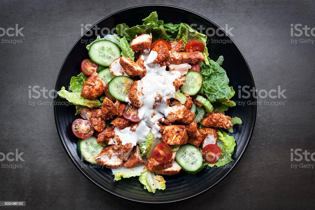 Tandoori Chicken Salad Overhead View stock photo