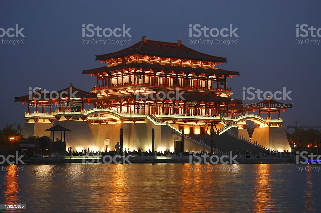 Tang Building in Xian at night stock photo