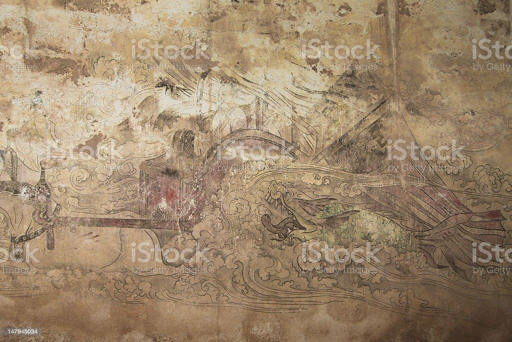Tang Dynasty fresco stock photo