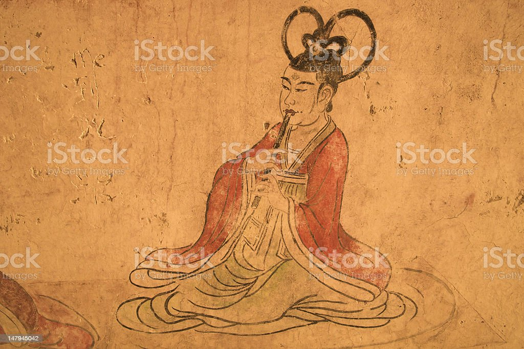 Tang Dynasty fresco stock photo