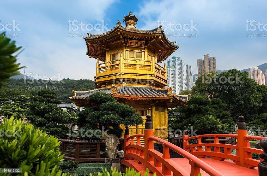 Tang Dynasty Golden Pavilion Chi Lin Nunnery stock photo